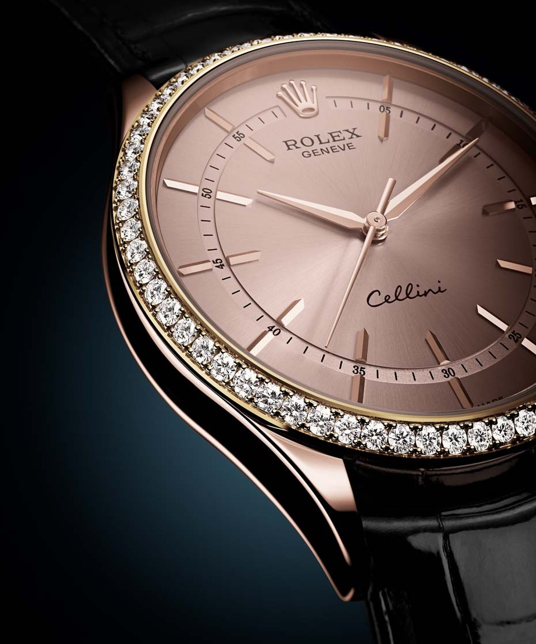 Rolex_Cellini Timeless collection_Rose gold case and dial diamonds black alligator strap.jpg