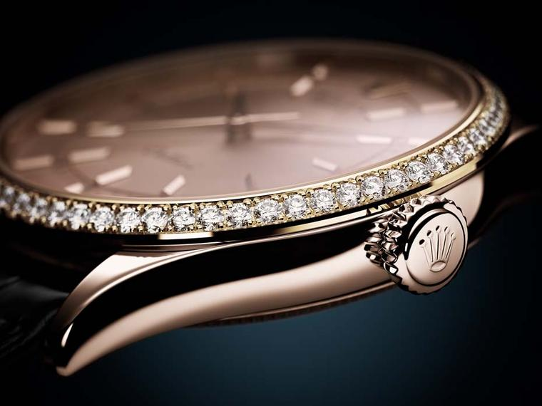 Rolex Cellini Time watch in a 39mm Everose gold case, bezel set with 62 diamonds and a pink sunray finish dial (ref. 50705 RBR).