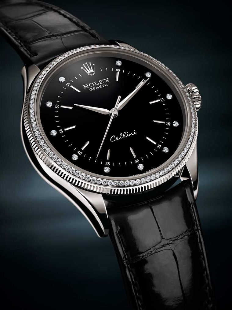 Rolex watches new cellini time models crown the time with diamonds for Rolex cellini