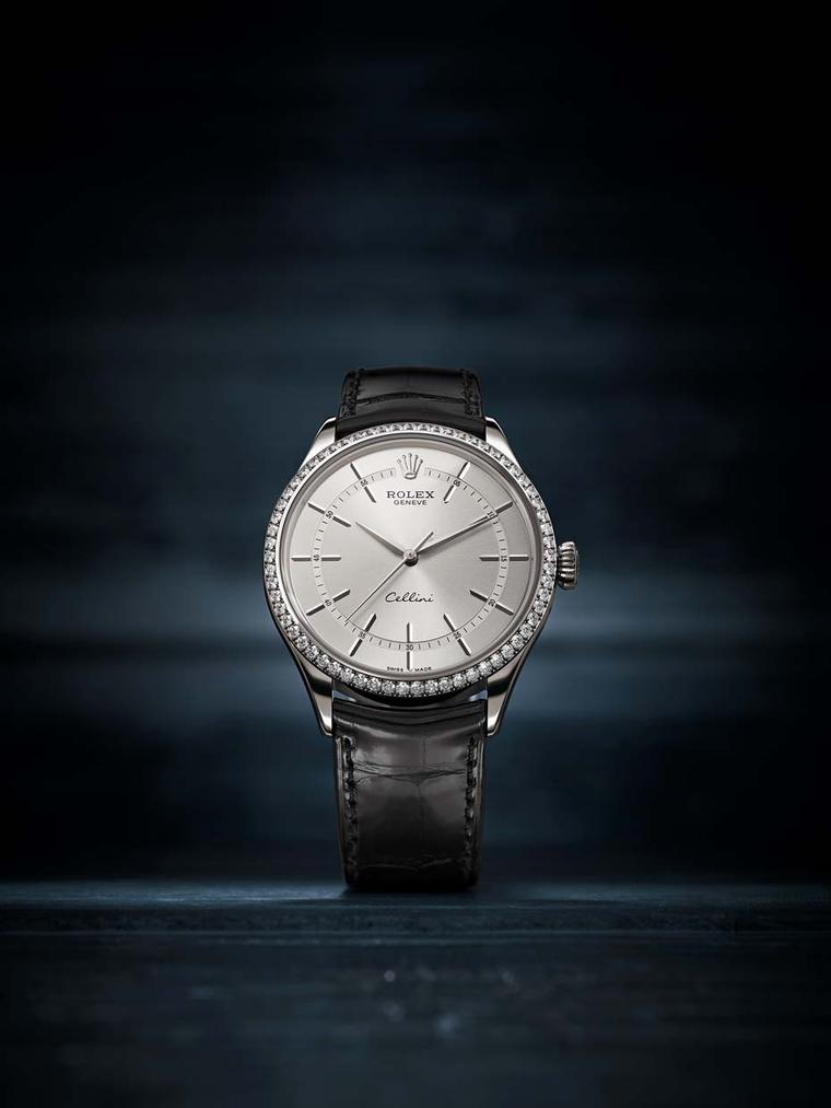 Rolex Cellini Time watch in a 39mm white gold case with a rhodium sunray finish dial, 62 diamonds on the bezel, elegant elongated indices, and white gold sword-shaped hands (ref. 50709 RBR).