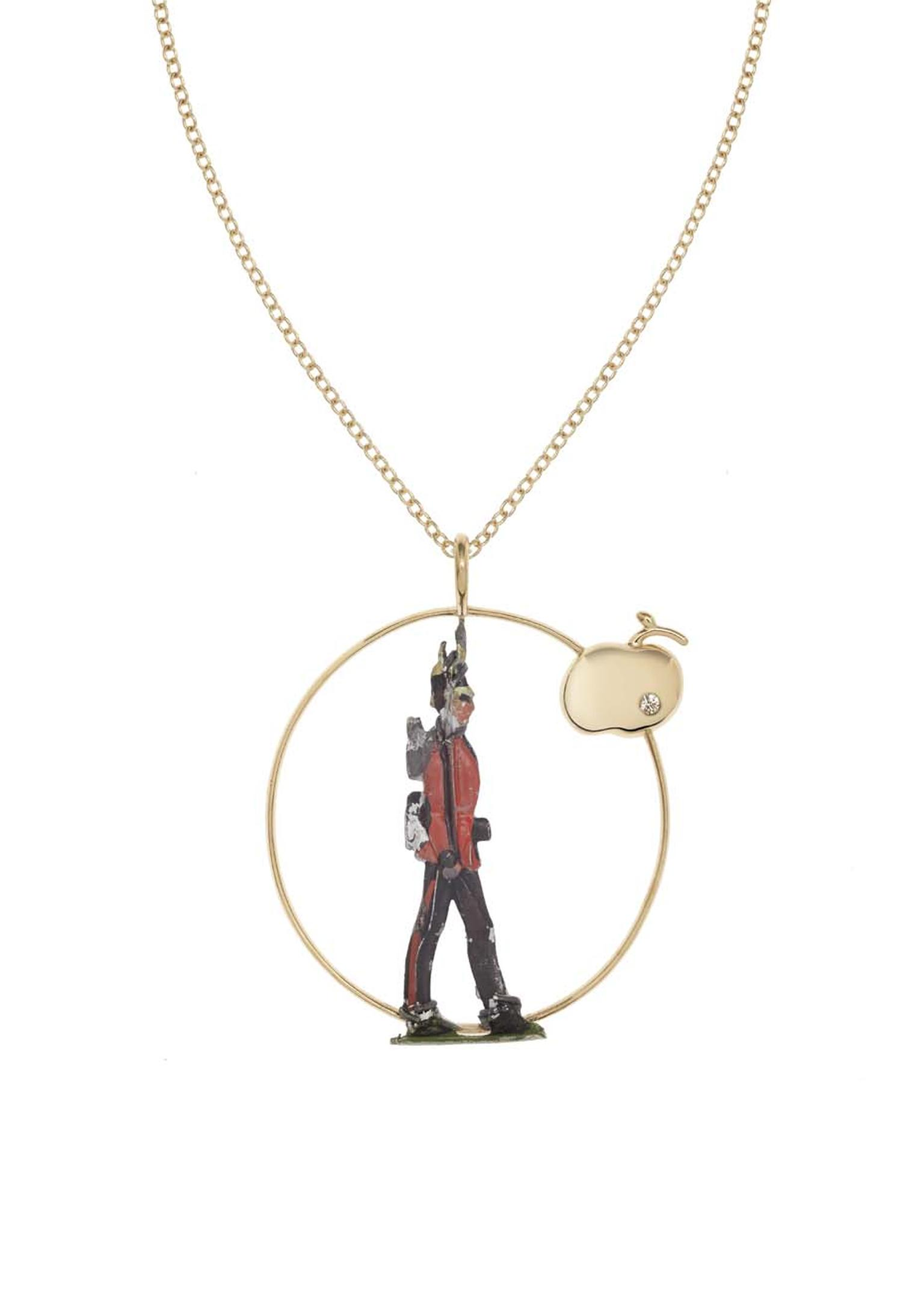 Francesca Villa yellow gold necklace incorporating an antique toy soldier, set with 0.22ct of diamonds.