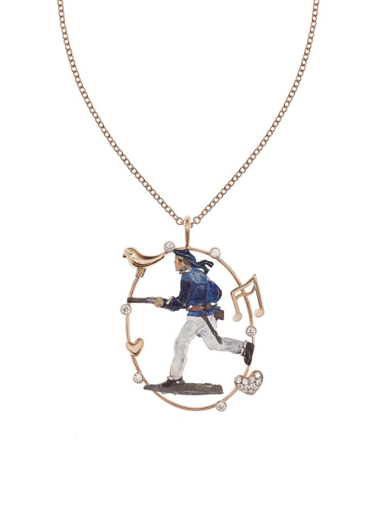 Francesca Villa rose gold antique toy soldier necklace measuring 50cm, set with 0.20ct of diamonds (£1,249).