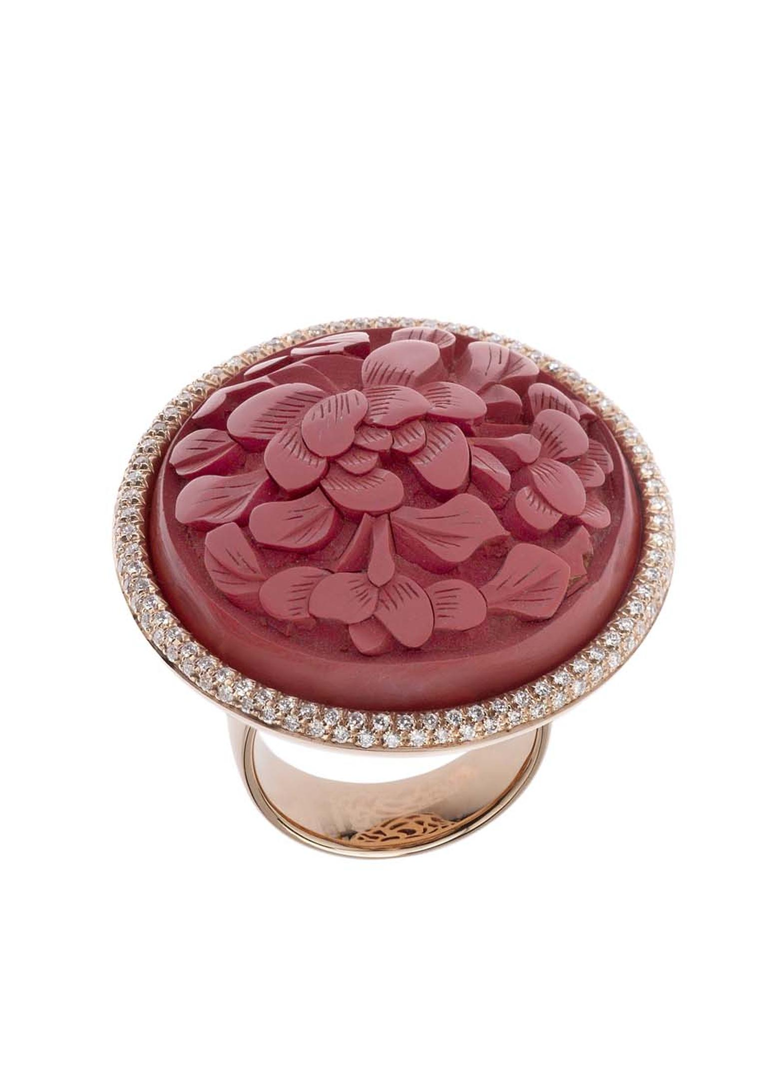 Francesca Villa rose gold and diamond button ring decorated with antique Chinese red laque (£3,949).