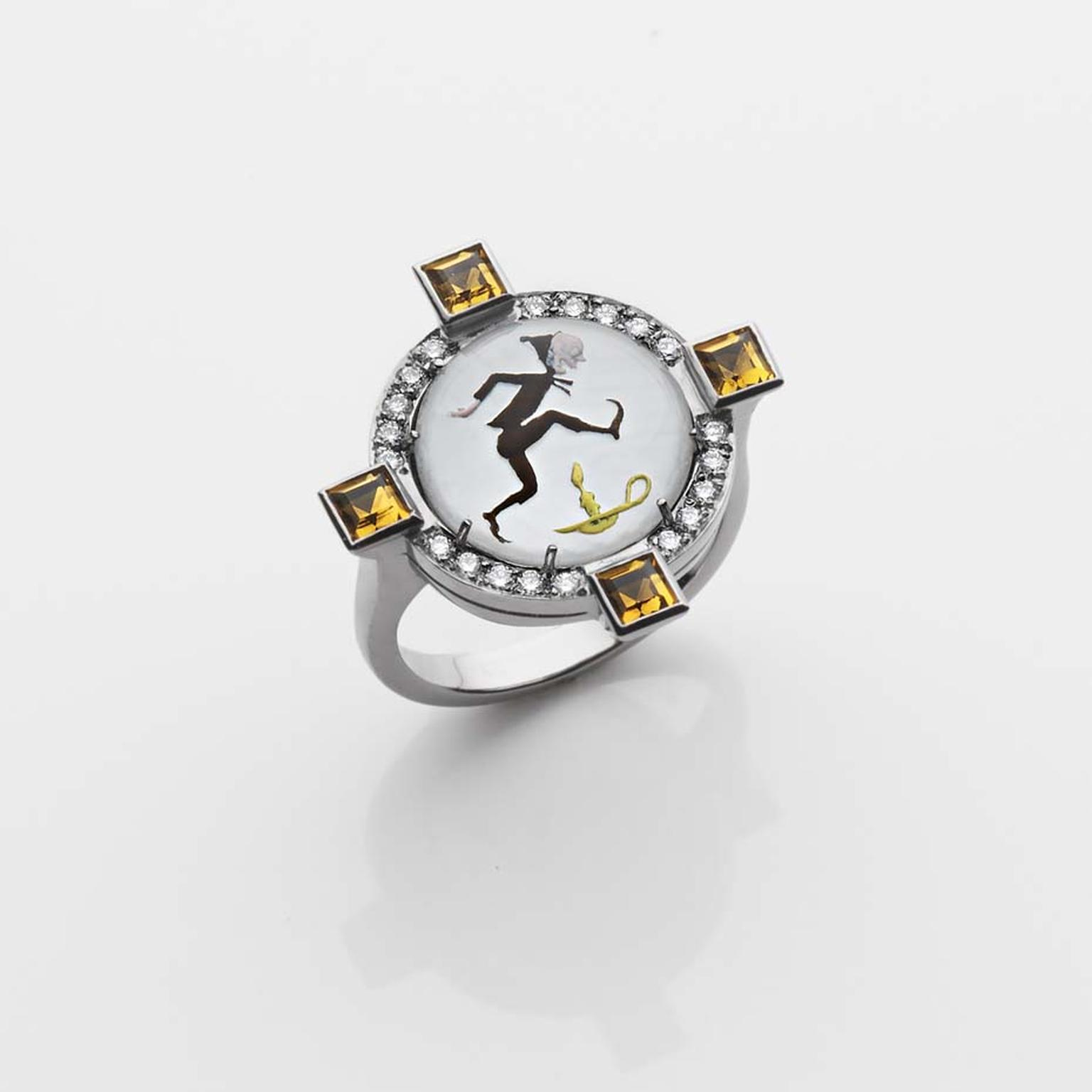 "1930s ""Jack Be Nimble"" Francesca Villa ring set with four reverse-set citrines totalling 1.5ct (£1,299)."