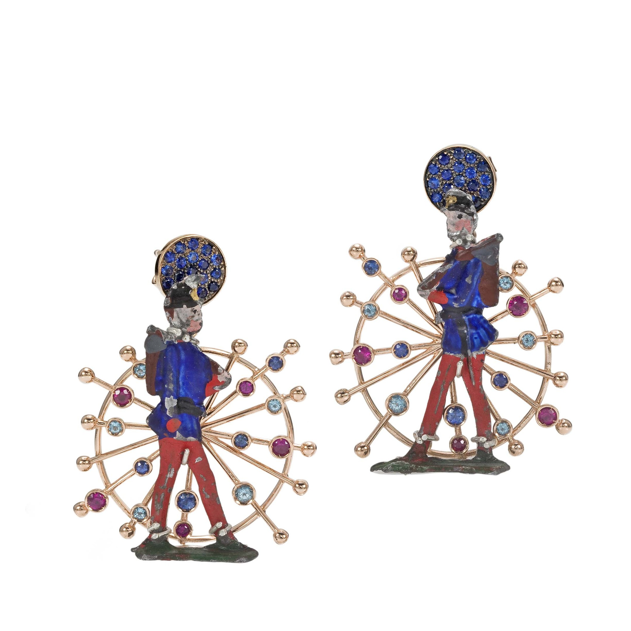 Rose gold antique toy soldier earrings, set with rubies, blue sapphires and blue topaz, from Francesca Villa jewellery (£2,499).