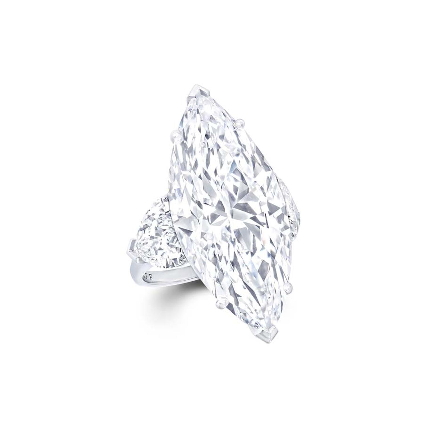 Magnificent Graff 23.20ct internally flawless marquise diamond engagement ring with heart shape diamond shoulders.