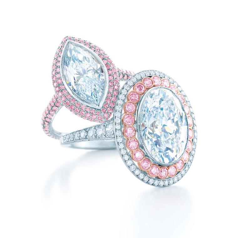 Tiffany and Co. 2014 Blue Book diamond rings. The ring on the left in platinum is set with a 3.04ct internally flawless marquise diamond and pink diamonds; the ring on the right in platinum and rose gold with a 6.00ct oval diamond with pink and white diam