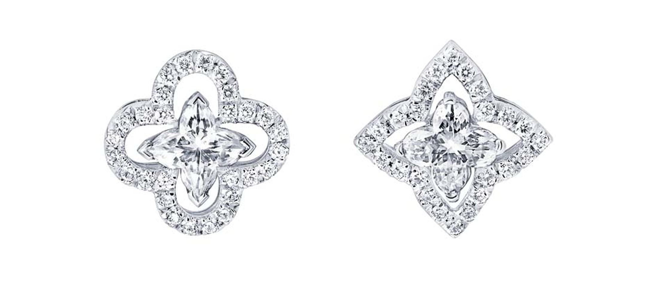 Mismatched Louis Vuitton Monogram Fusion diamond earrings, set with a star and flower solitaire diamond at the centre.