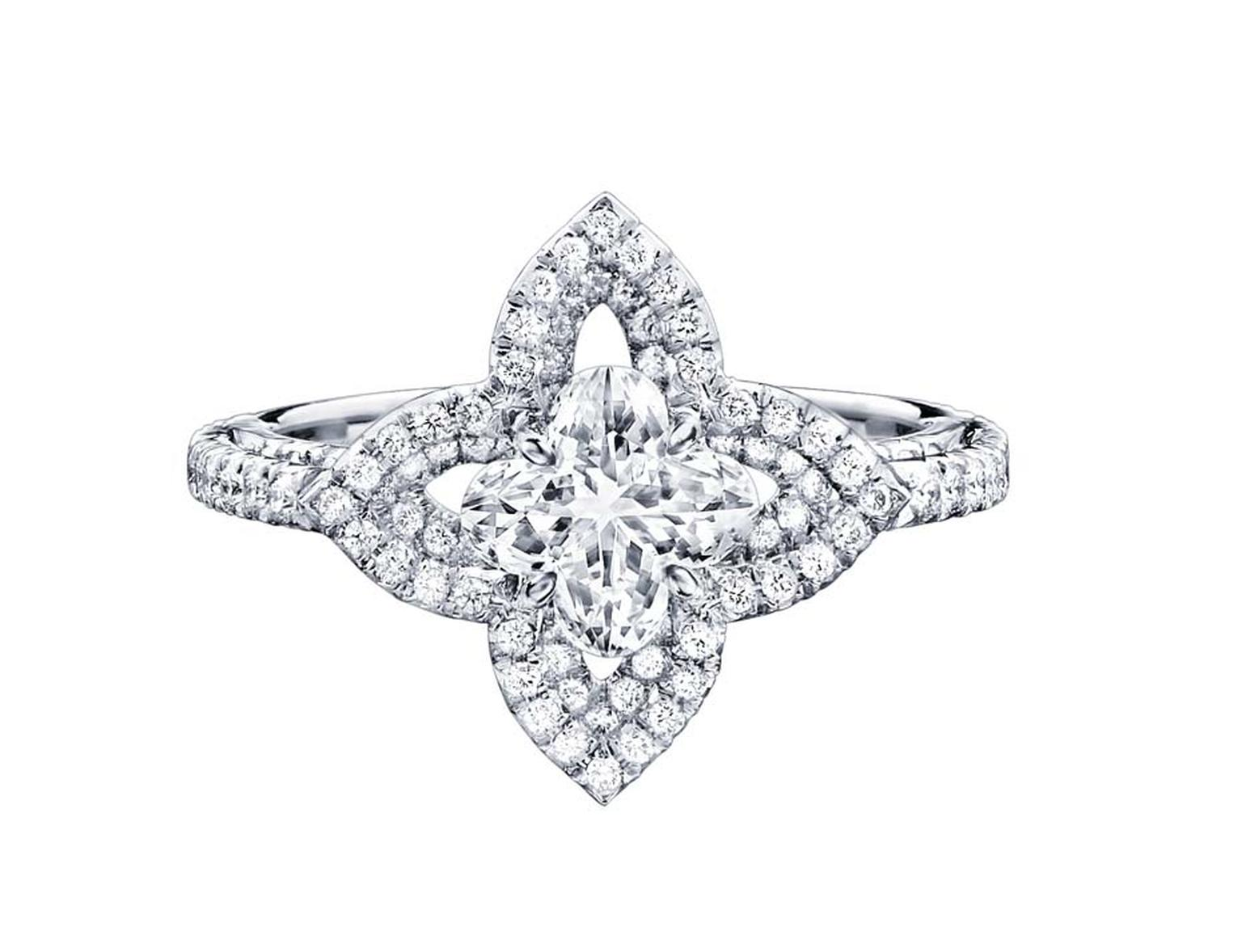 Solitaire diamond ring from the Monogram Fusion collection, set with a patented Louis Vuitton flower-cut diamond at the centre.