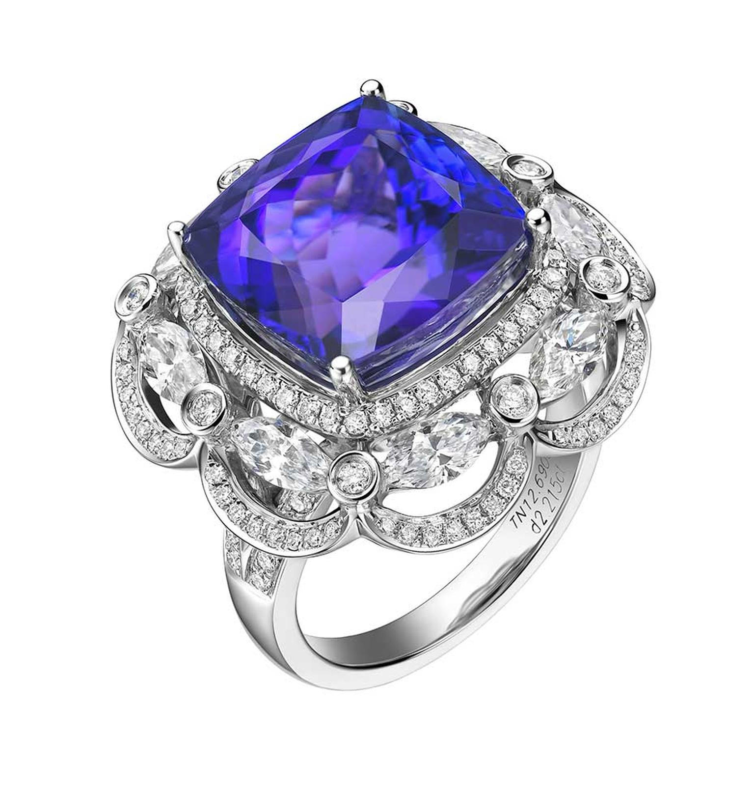 Fei Liu bespoke tanzanite ring in white gold with diamonds.