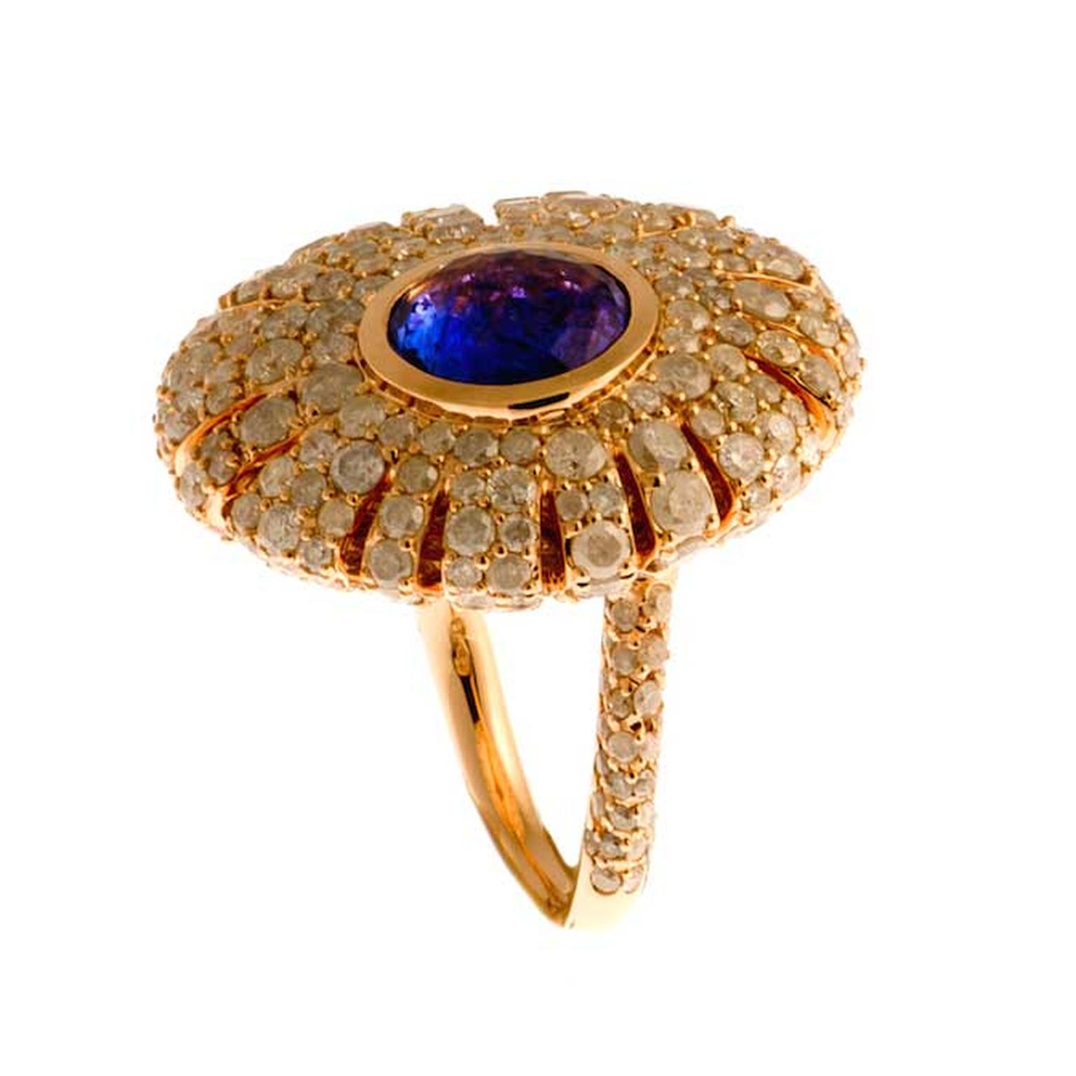 Rodney Rayner Sea Urchin tanzanite ring in pink gold with icy diamonds.