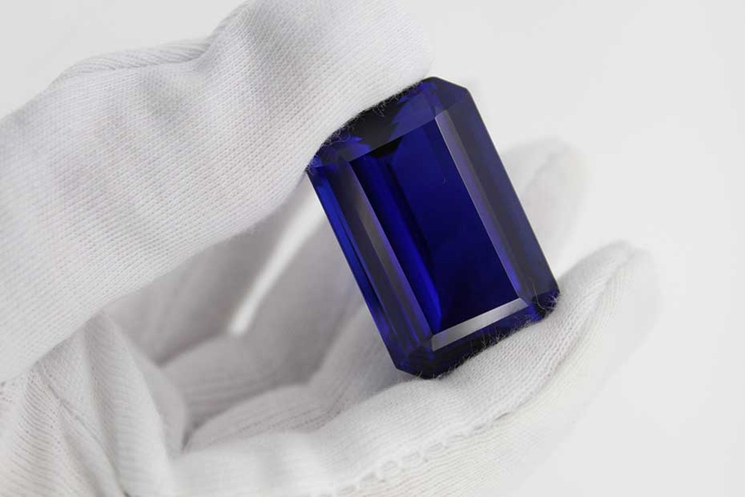 A 109ct blueish-violet tanzanite discovered by TanzaniteOne, which mines tanzanite exclusively in Tanzania, the only country in which tanzanite has been discovered.