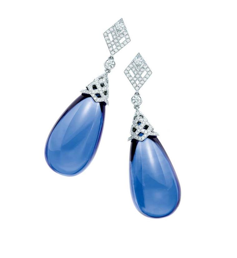 Tiffany & Co. tanzanite earrings with diamonds.
