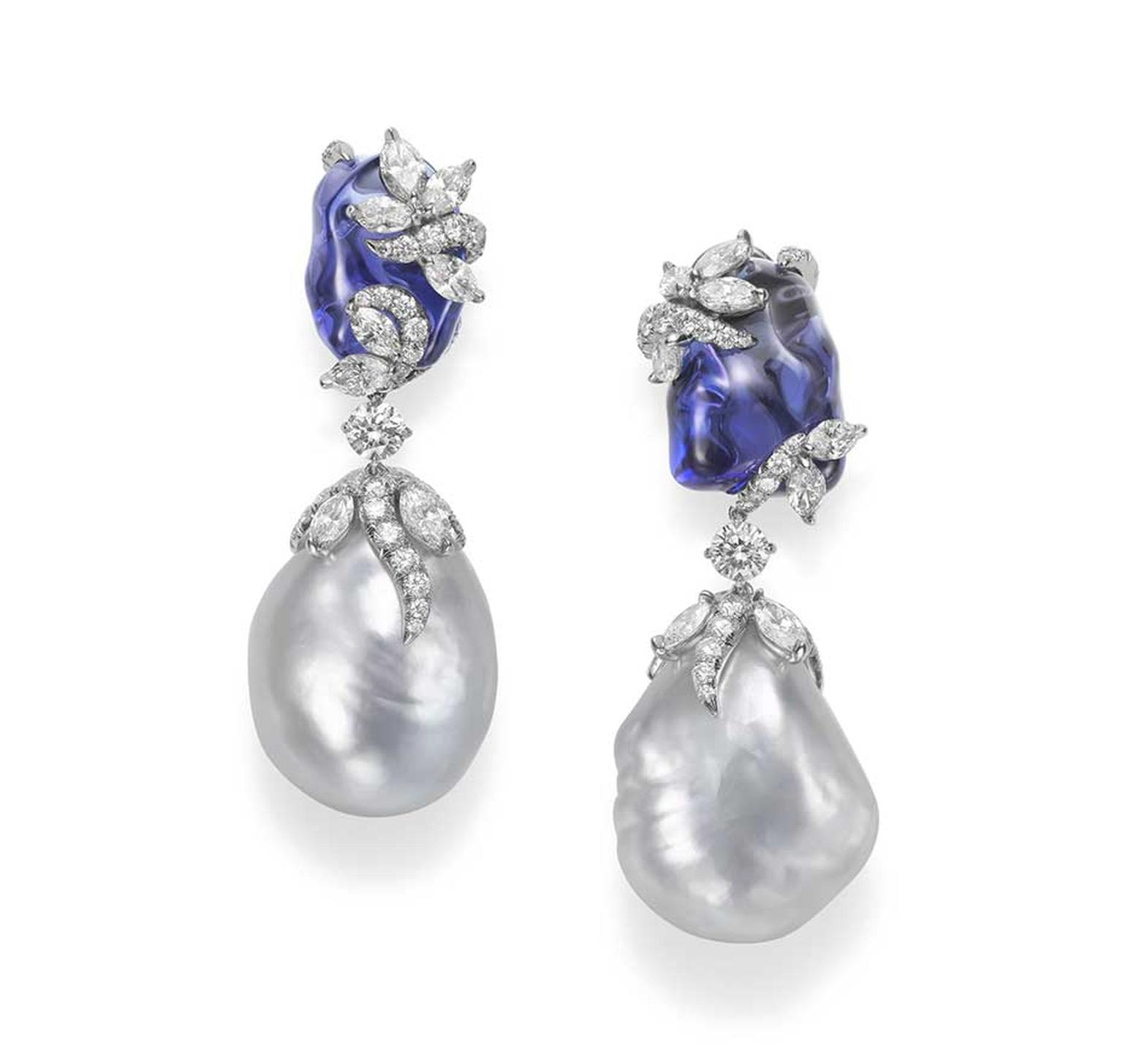 Mikimoto Hyacinthia earrings with baroque South Sea cultured pearls, tumbled tanzanites and diamonds.