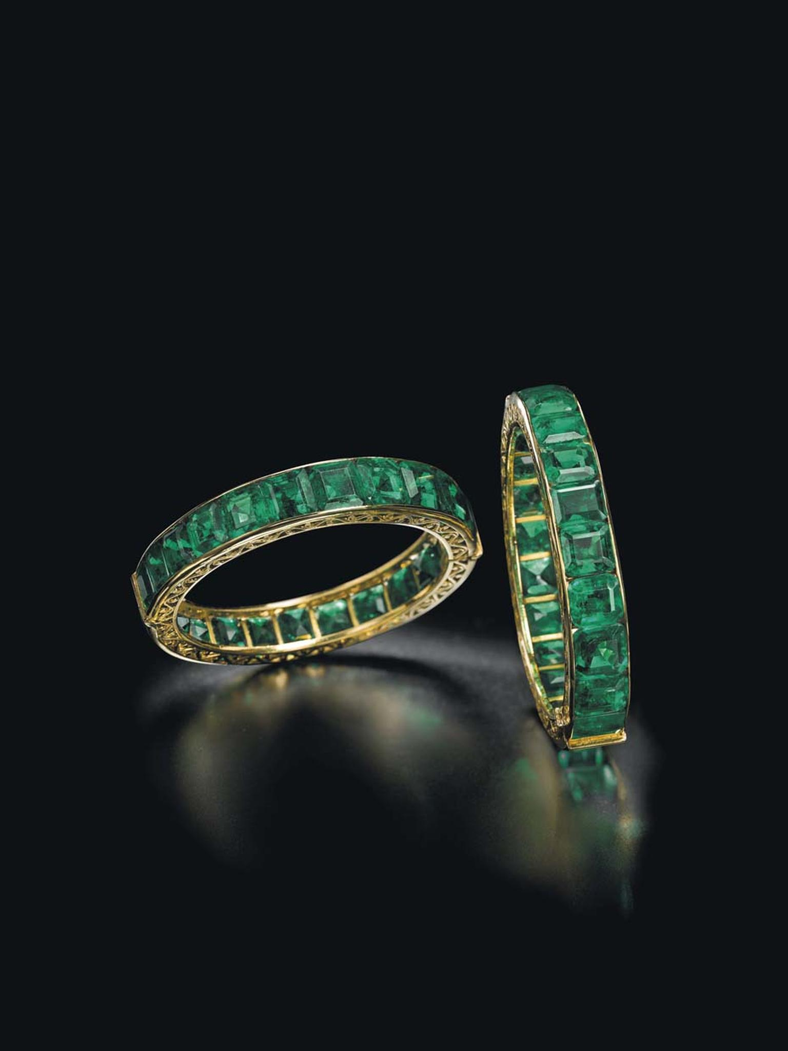 This pair of emerald bracelets, once owned by an Indian Royal family renowned for its enviable collection of emerald jewellery, sold for $1.74 million at Christie's Magnificent Jewels Sale in Geneva.