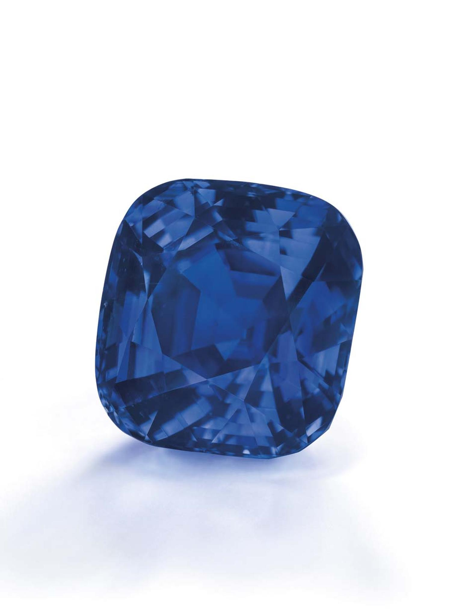 One of the top lots at Christie's Magnificent Jewels Sale in Geneva was this 35.09ct cushion-shaped Kashmir sapphire, which sold for $7.36 million or $209,689 per carat, making it the most valuable Kashmir sapphire ever sold at auction.