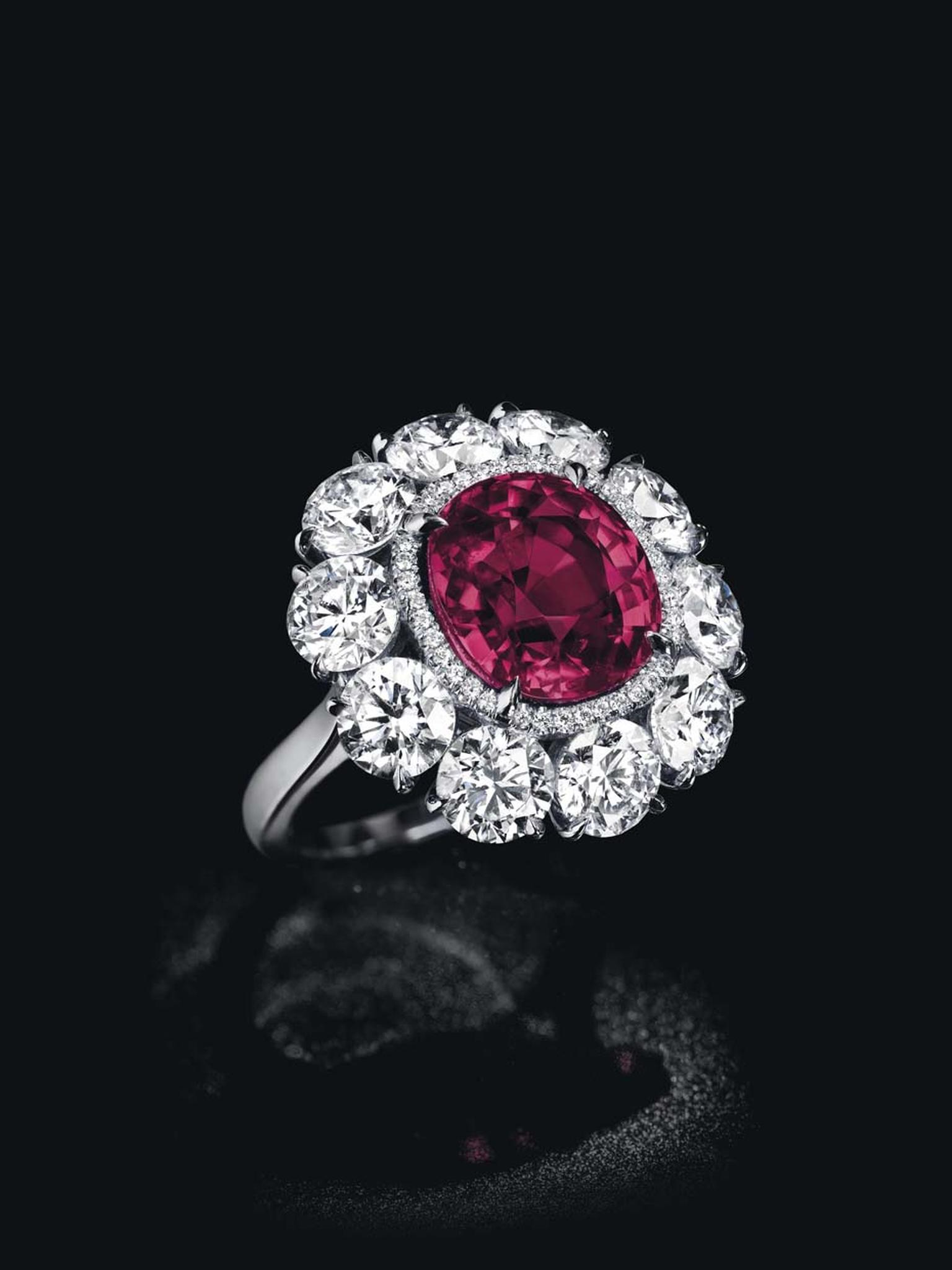 The hammer fell at $3.14 million for this cushion-shaped Burmese ruby and diamond ring, known as the Pride of Burma, at Christie's Magnificent Jewels Sale in Geneva.