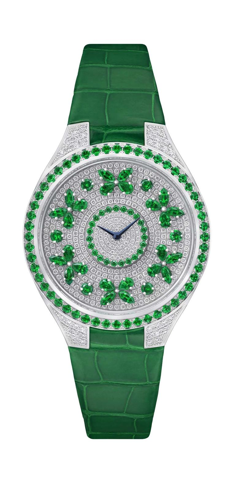 The Disco Butterfly from Graff watches, the newest member of Graff's Butterfly collection, features six rotating emerald butterflies on a gorgeous pavé dial. All three Disco models come with a Swiss quartz movement and matching crocodile straps.