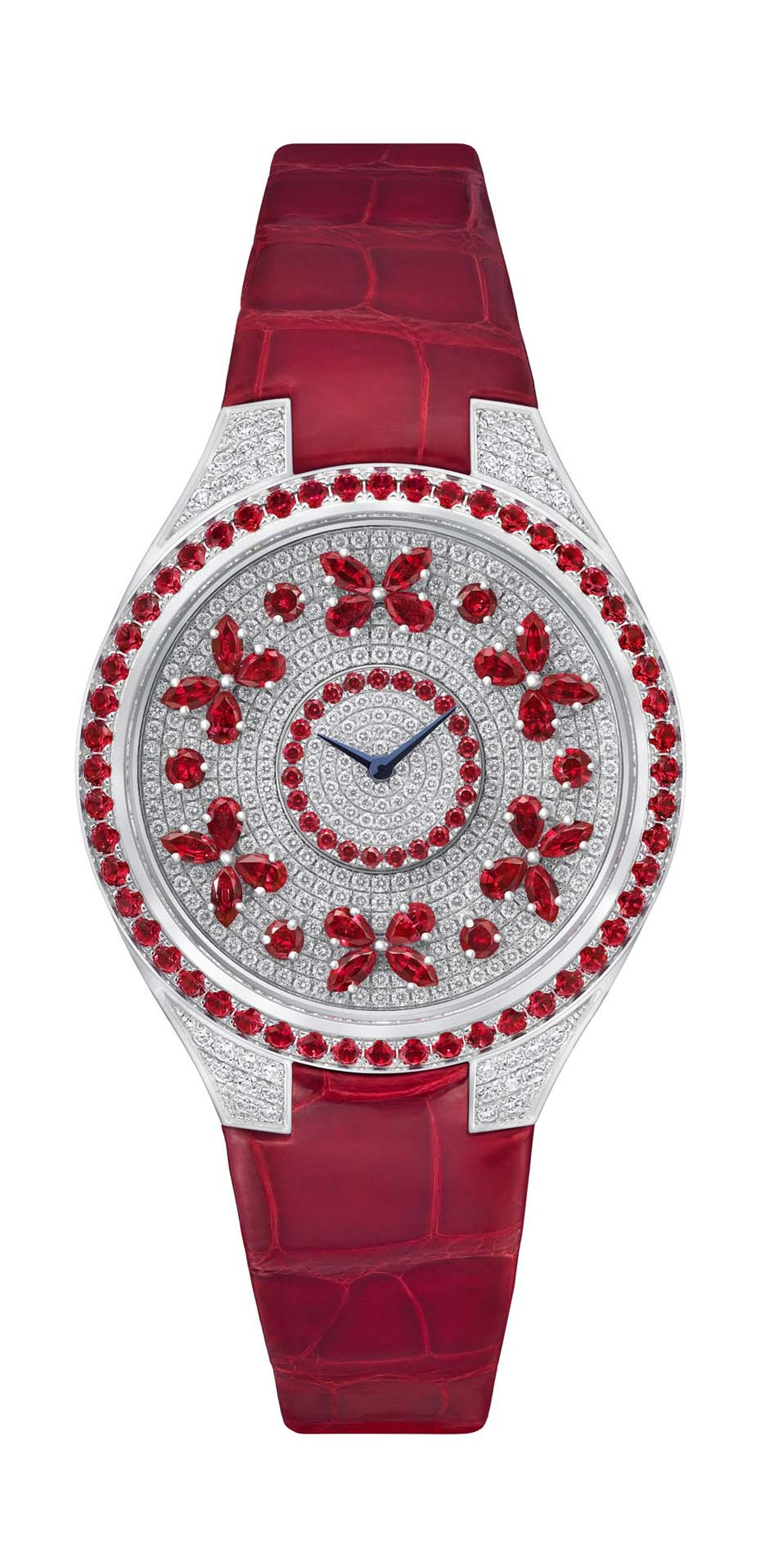 The new Disco Butterfly collection of Graff watches includes this model set with rubies and diamonds on a red crocodile strap - a colourful companion that sets the butterflies spinning in time with your wrist.