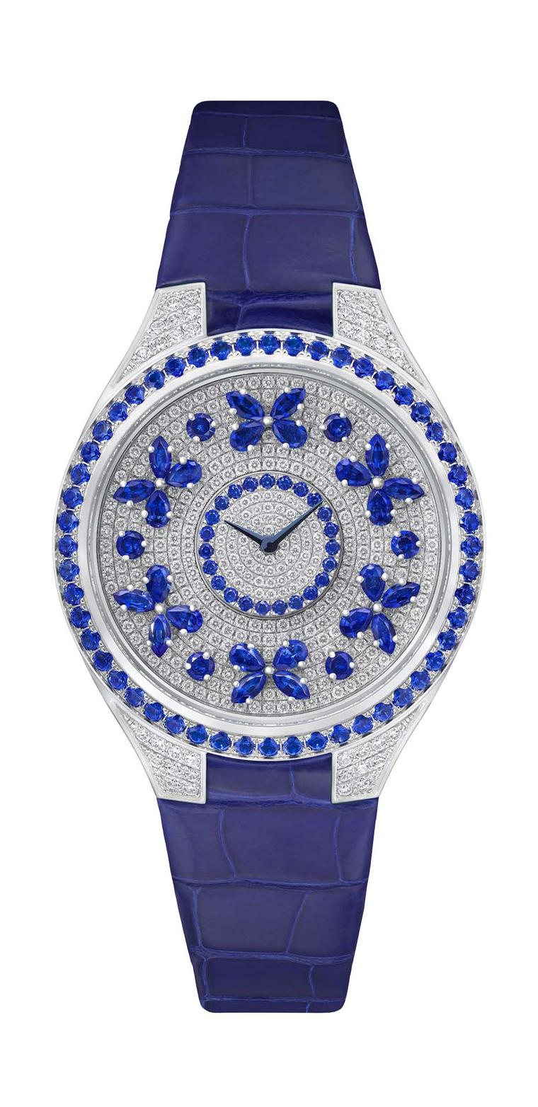Butterflies have flown back into Graff's universe, winging their way around the dial of these ladies' watches. This Graff Disco Butterfly watch comes in a 38mm white gold case and features a pavé dial and lugs with sapphire butterflies and bezel.