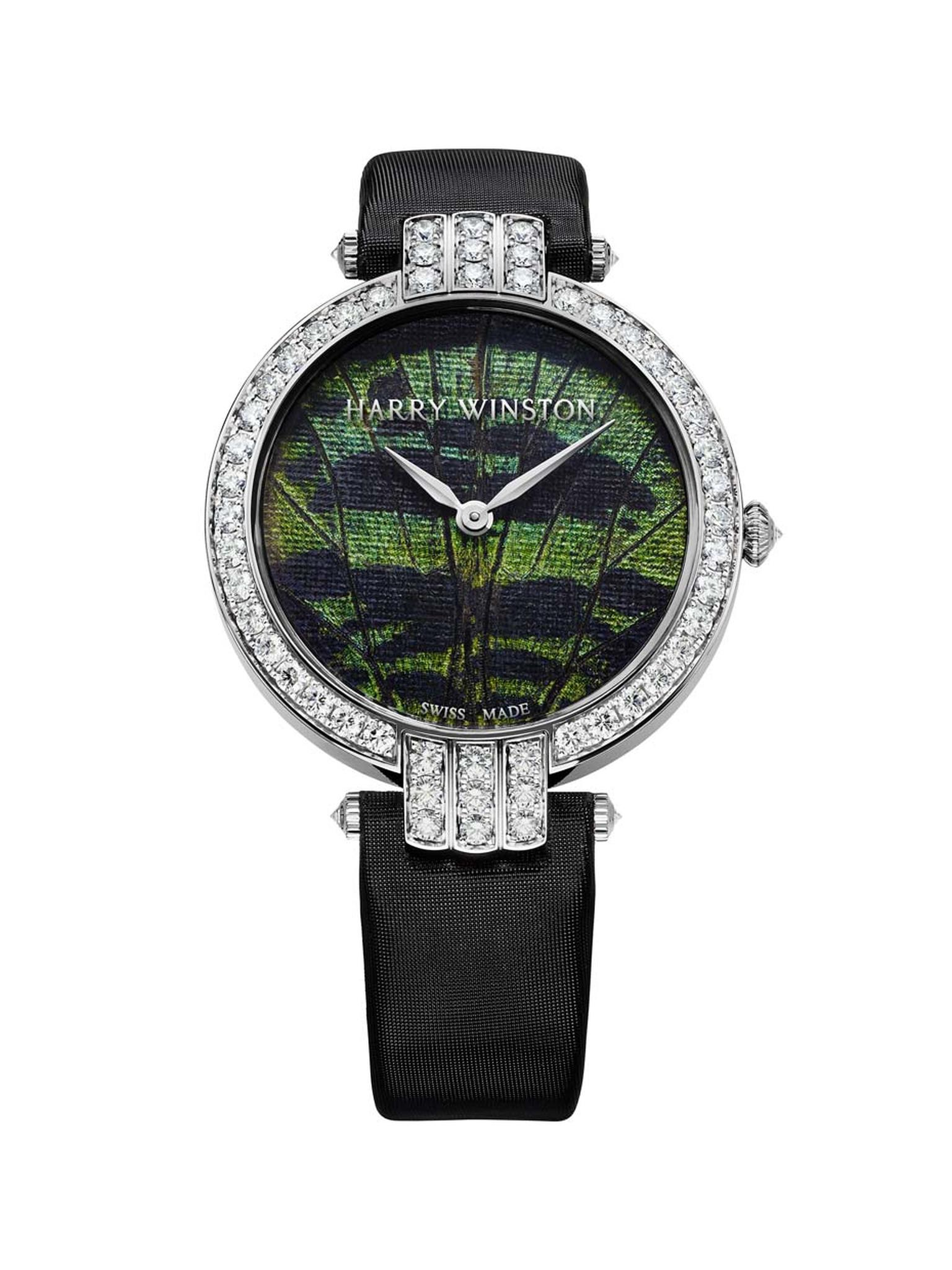 This model of the Harry Winston Premier Precious Butterfly ladies' watch comes in a 36mm white gold case with a flurry of 57 brilliant-cut diamonds set on the bezel and lugs. The iridescent dial is crafted using powder harvested from different species of