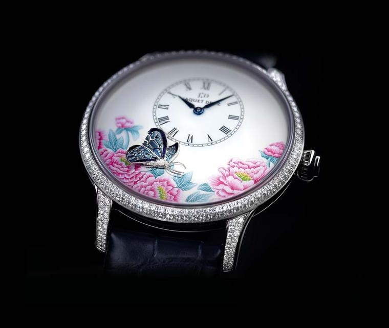 The Jaquet Droz watches in The Butterfly Journey collection are housed in Petite Heure Minute models. The enamelled wings of the butterfly and the realistic rendering of its sculpted body are frozen for eternity on the dial protected by a white gold case