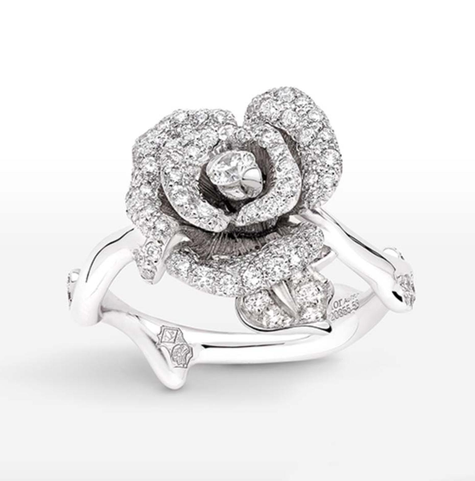 Christian Dior's favourite flower, the rose, was the inspiration behind the Rose Dior Bagatelle collection, which includes this white gold and diamond Dior ring.