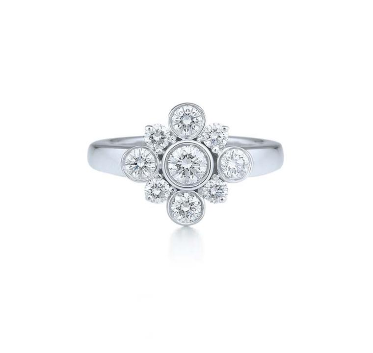 The charming Petal diamond engagement ring from Kwiat in white gold.