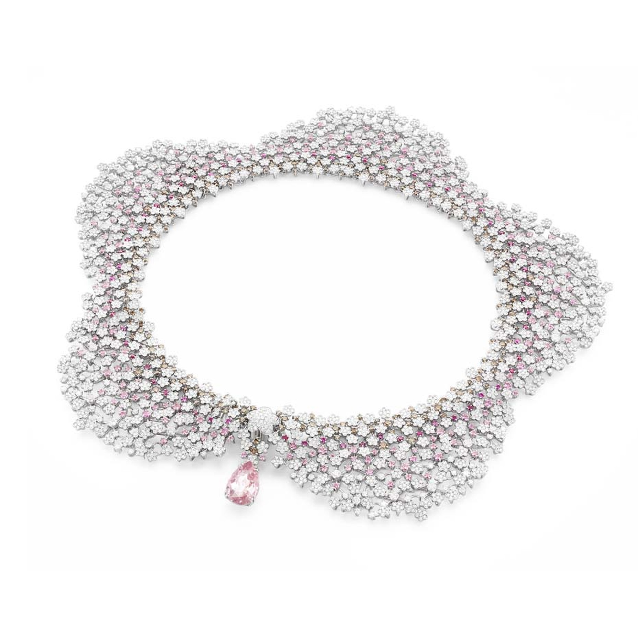 Pasquale Bruni Fiori in Fiore statement necklace, set with 258 pink sapphires that magically blend in among the 3,421 diamonds in white gold.