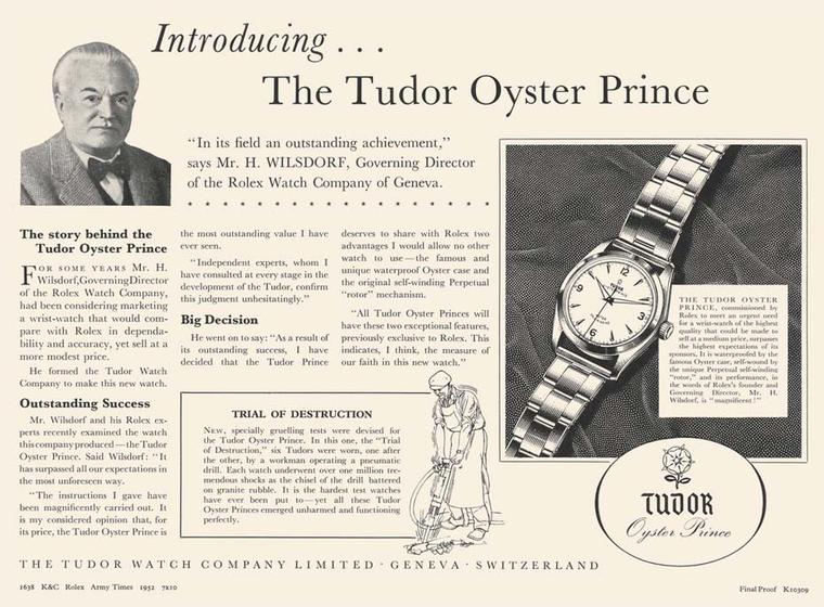 Hans Wilsdorf, founder of Rolex, launched Tudor watches as a sub-brand offering the same dependability as Rolex, but at a lower cost. The advert was part of a campaign showing real men working in rough conditions with their Tudor watches.
