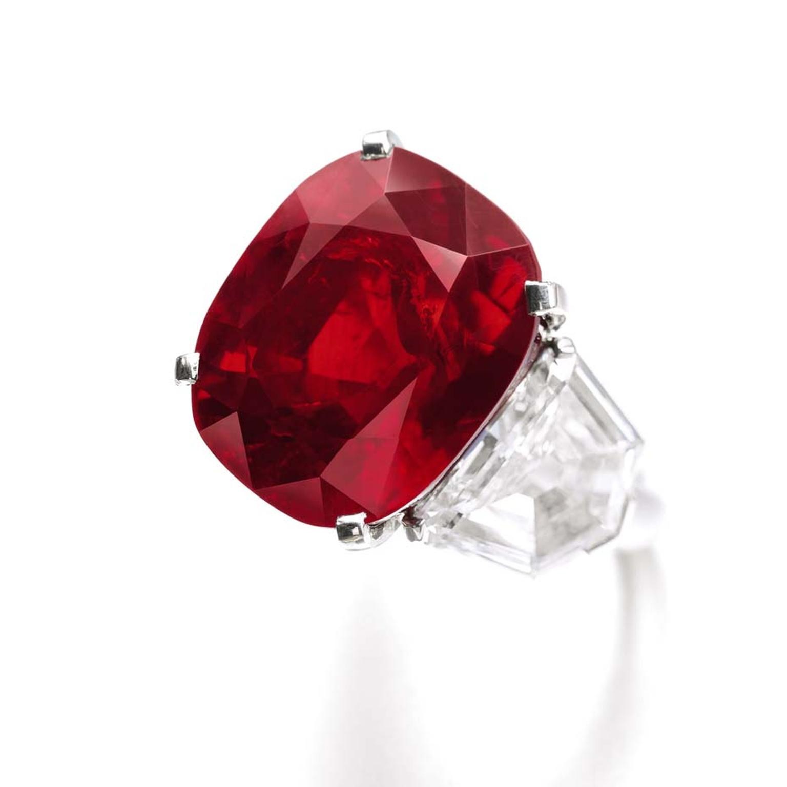 Named after a poem written by the Sufi poet Rumi, The Sunrise Ruby, an extraordinary cushion-shaped 25.59ct Burmese ruby, was mounted as a ring by Cartier. With a pre-sale estimate of US$12-18 million, the 25.59ct cushion-cut ruby should easily surpass th