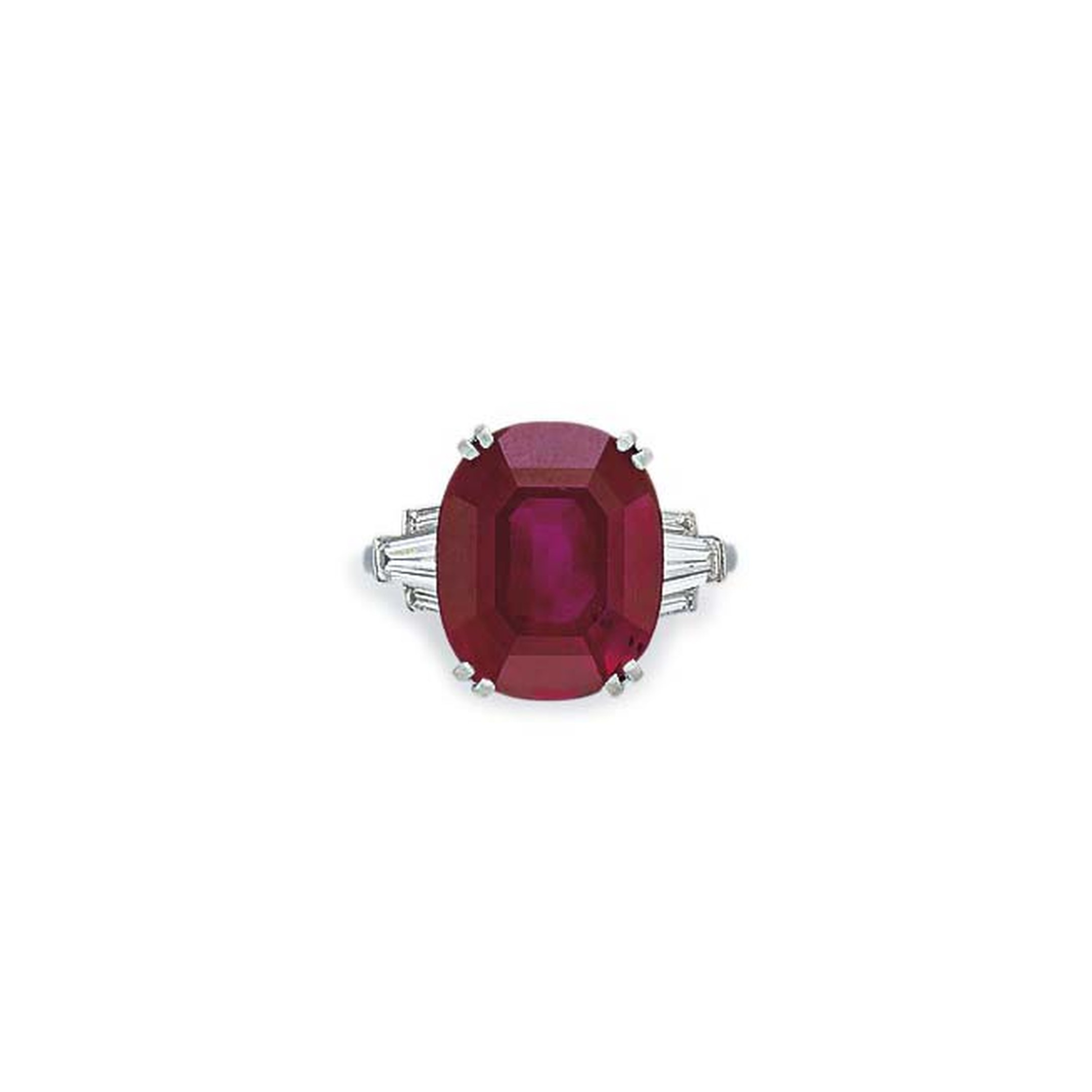 Colored gemstones are always of interest at auction, and this cushion-cut Burmese ruby sold for $2.17 million at Christie's New York.