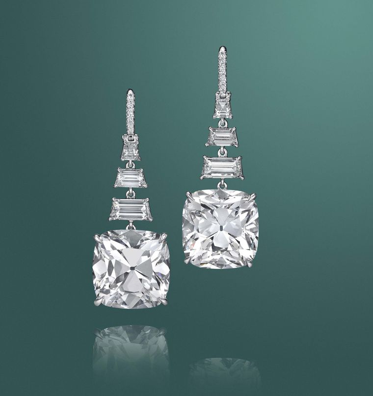 Diamonds are always among the top lots at Christie's Magnificent Jewels sales and this pair of  cushion-cut drop earrings were a highlight at the New York auction.