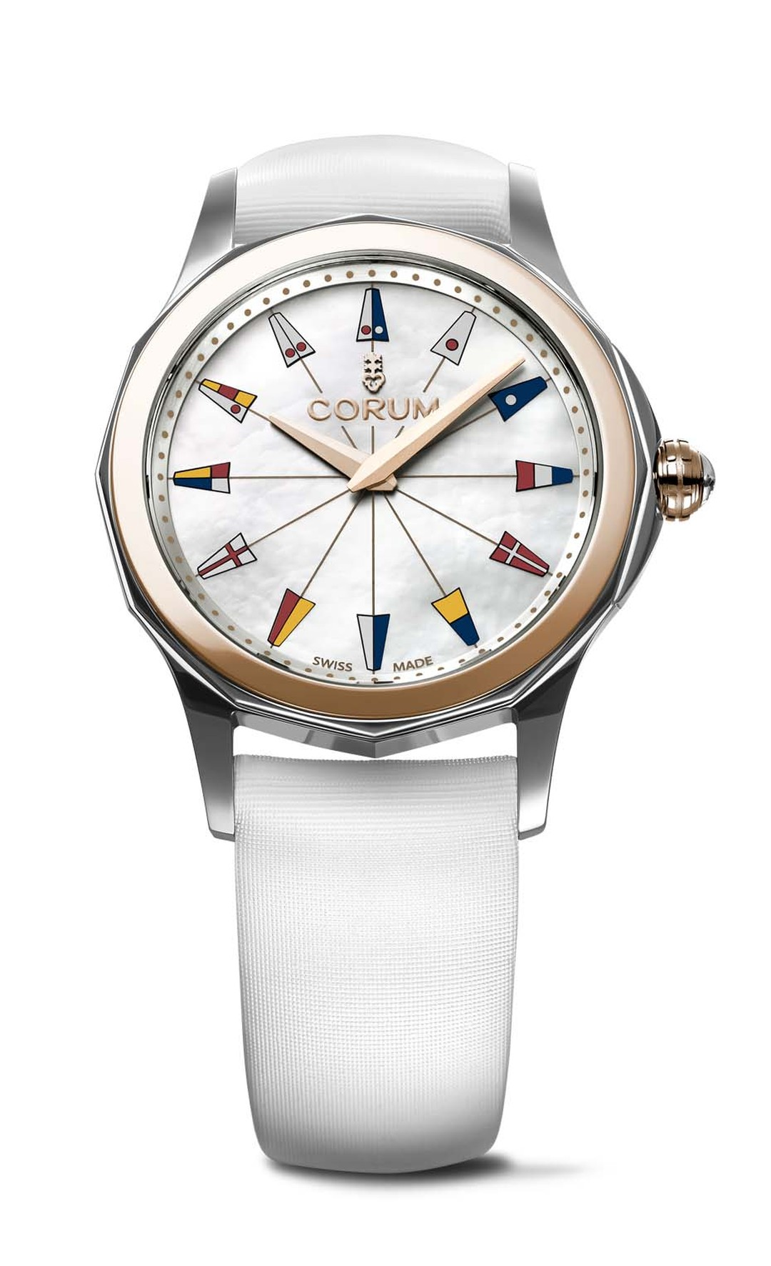 Corum watches Admiral's Cup Legend Lady 32mm displays the unmistakable profile of the iconic Admiral's Cup watch. In addition to the feminine mother-of-pearl dial and gold bezel, the ladies' watch comes on a white satin strap and keeps time with a carefre