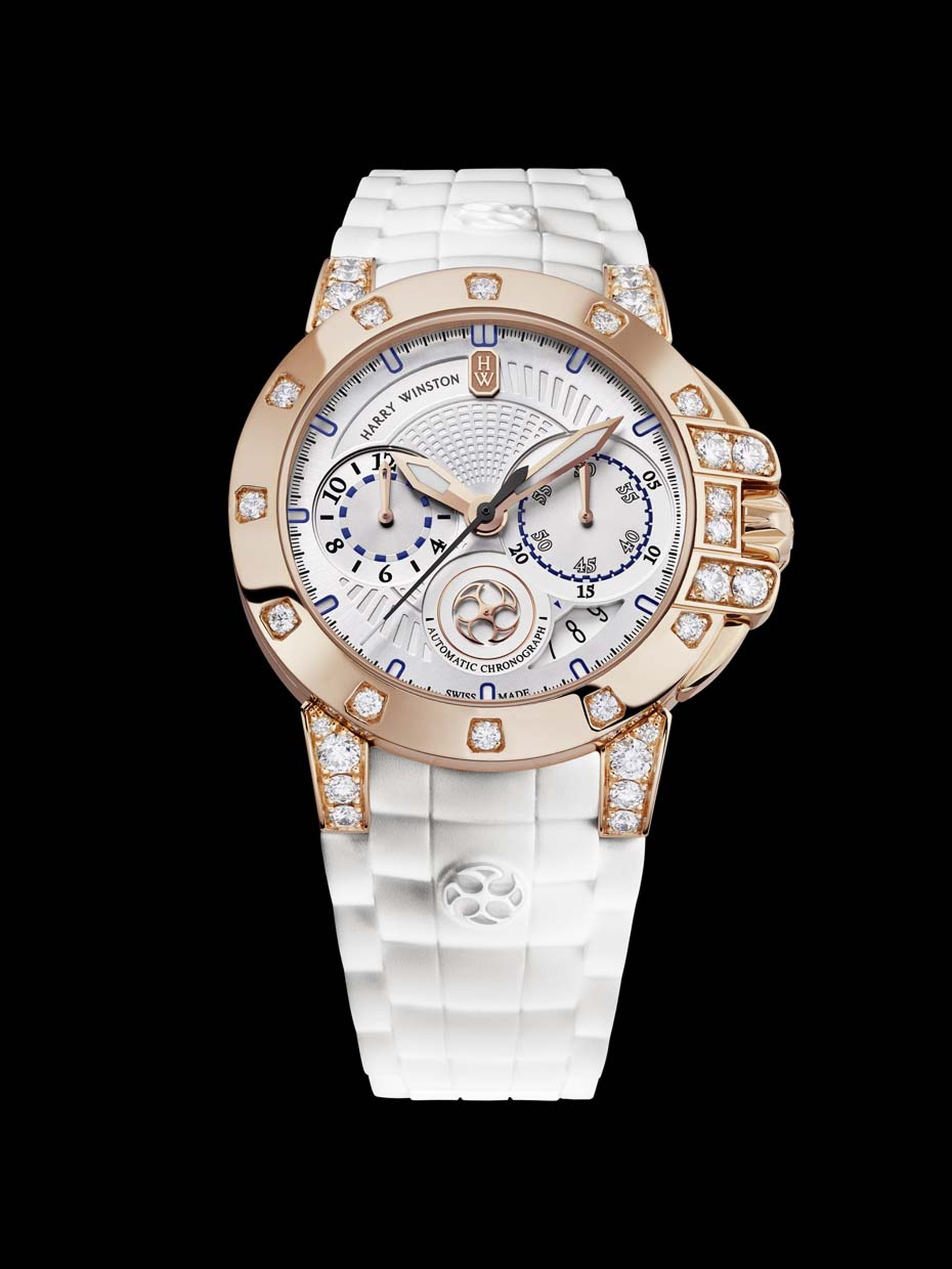 Harry Winston watches Ocean Chronograph Automatic 36mm for ladies is equipped with a high-tech chronograph movement visible through the caseback. The rose gold case is set with 33 brilliant-cut diamonds on the bezel and lugs.