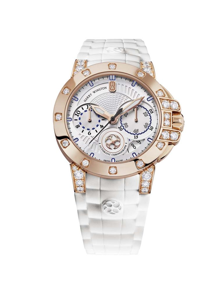 Harry Winston watches Ocean Chronograph Automatic 36mm for ladies marries a sophisticated sporty chronograph movement with luxurious aesthetics and a liberal sprinkling of the house speciality: diamonds.