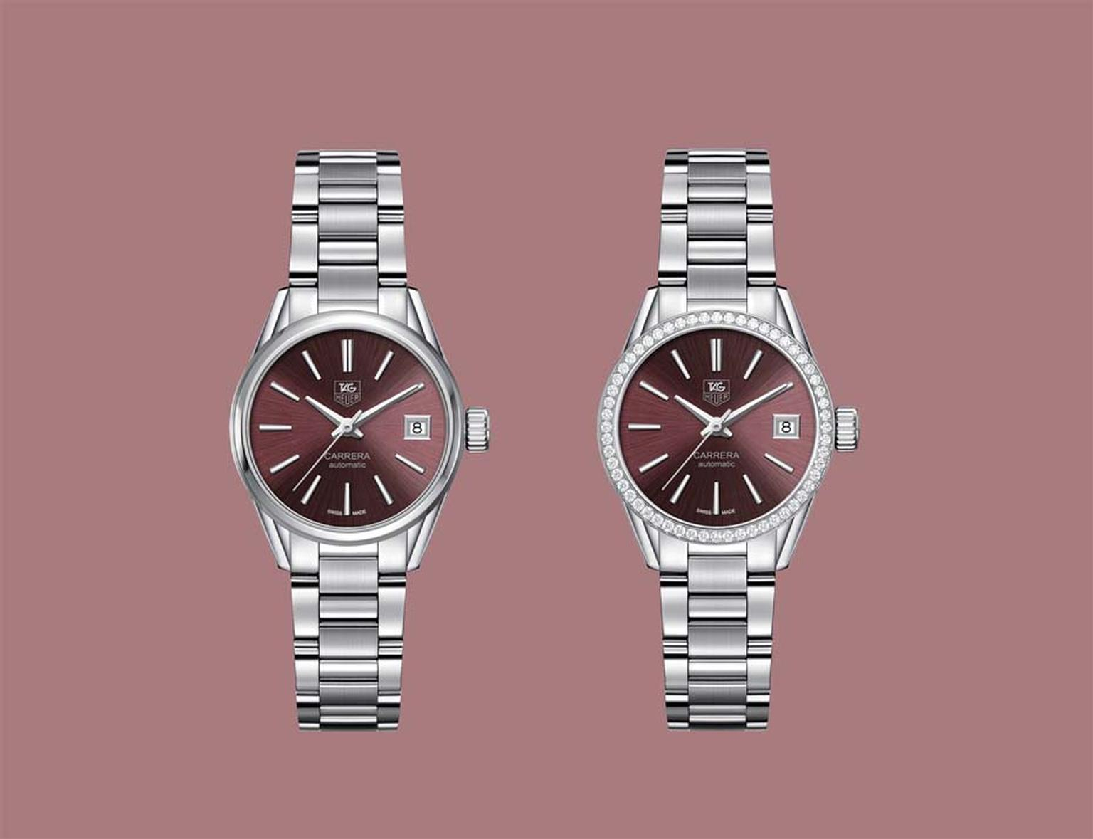 TAG Heuer watches Carrera Lady 28mm is a ladies version of the legendary Carrera watch of 1964. The sleek, fully integrated steel bracelet gives this watch a cool streamlined profile.