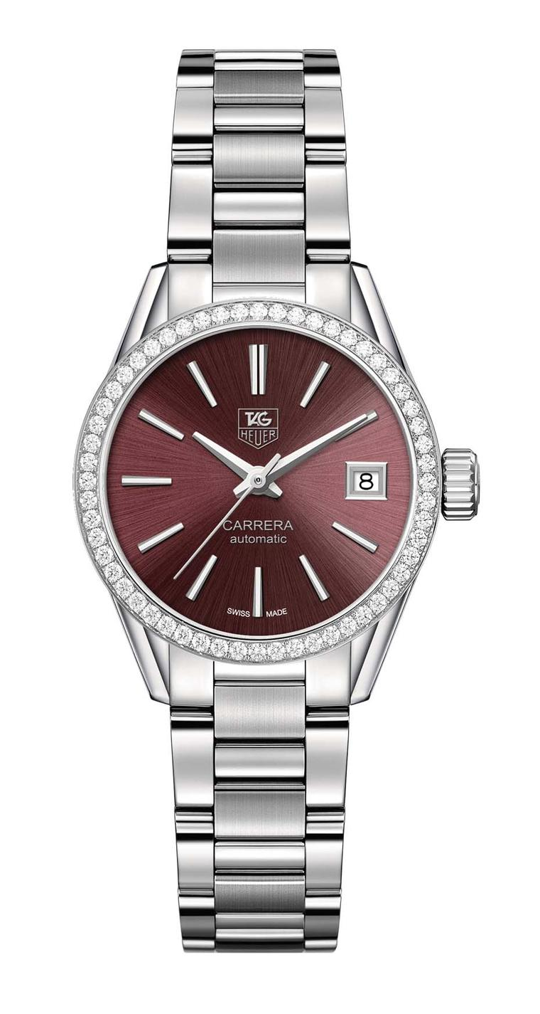 TAG Heuer watches Carrera 28mm Calibre 9 for ladies with a purple dial and 56 diamonds on the bezel.