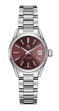 TAG Heuer watches Carrera 28mm Calibre 9 for ladies in stainless steel with hour, minute, central seconds and date functions powered by an automatic movement.