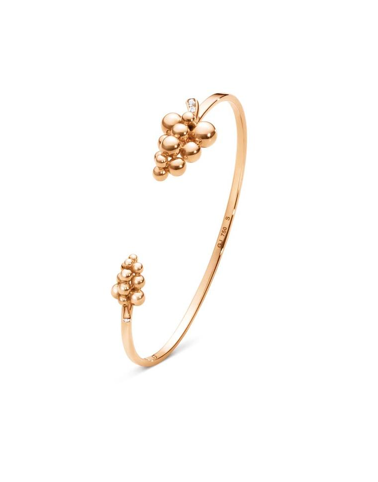 Georg Jensen rose gold bangle from the Moonlight Grapes collection with brilliant-cut diamonds (£1,575).