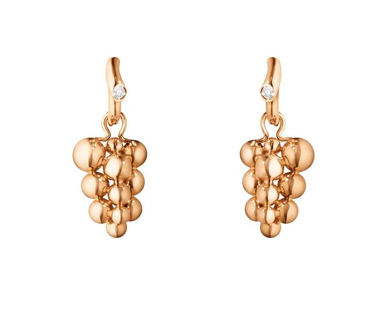 Georg Jensen rose gold earrings with brilliant-cut diamonds, new to the Moonlight Grapes collection (£1,325).