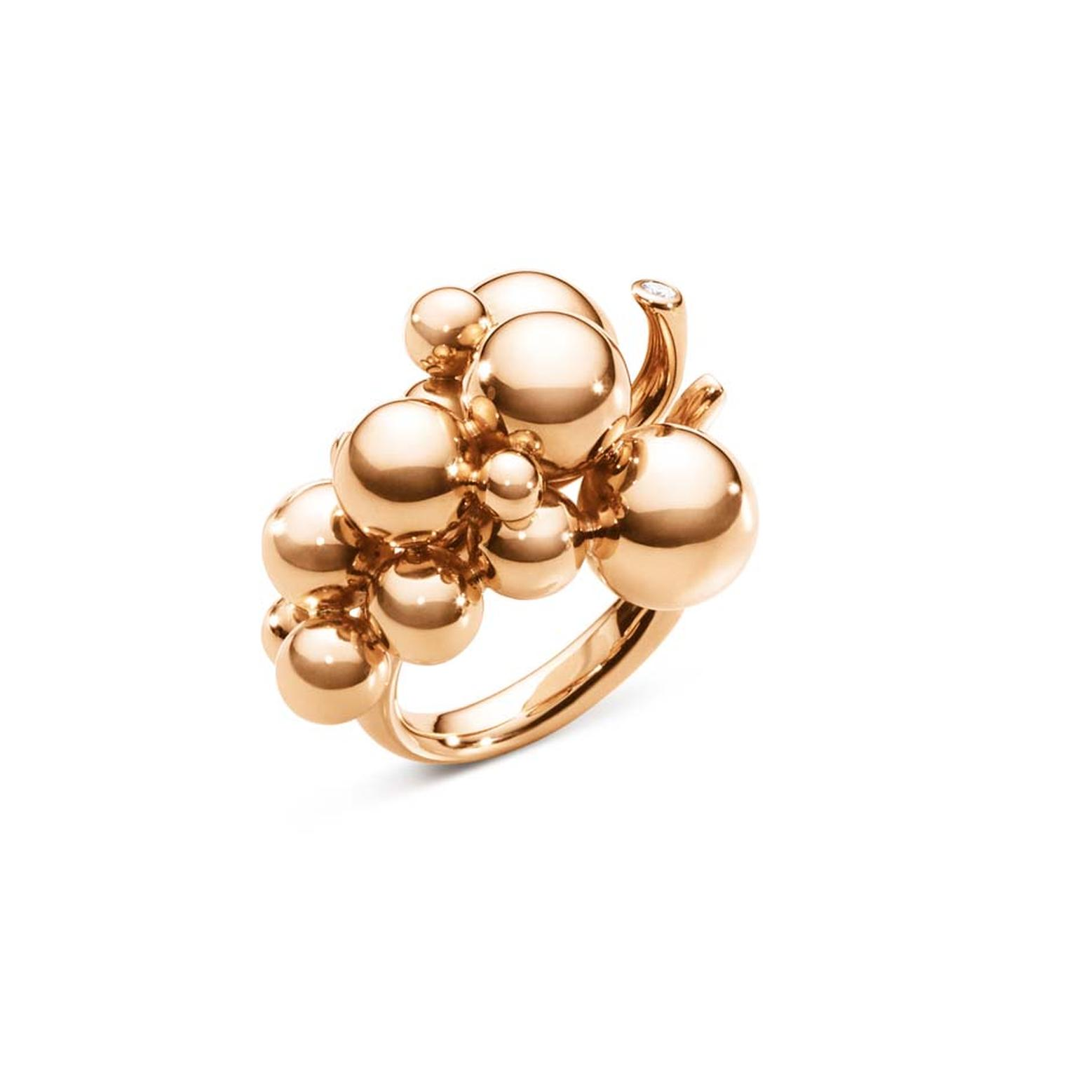 Georg Jensen rose gold ring with brilliant-cut diamonds, from the Moonlight Grapes collection (£2,325).