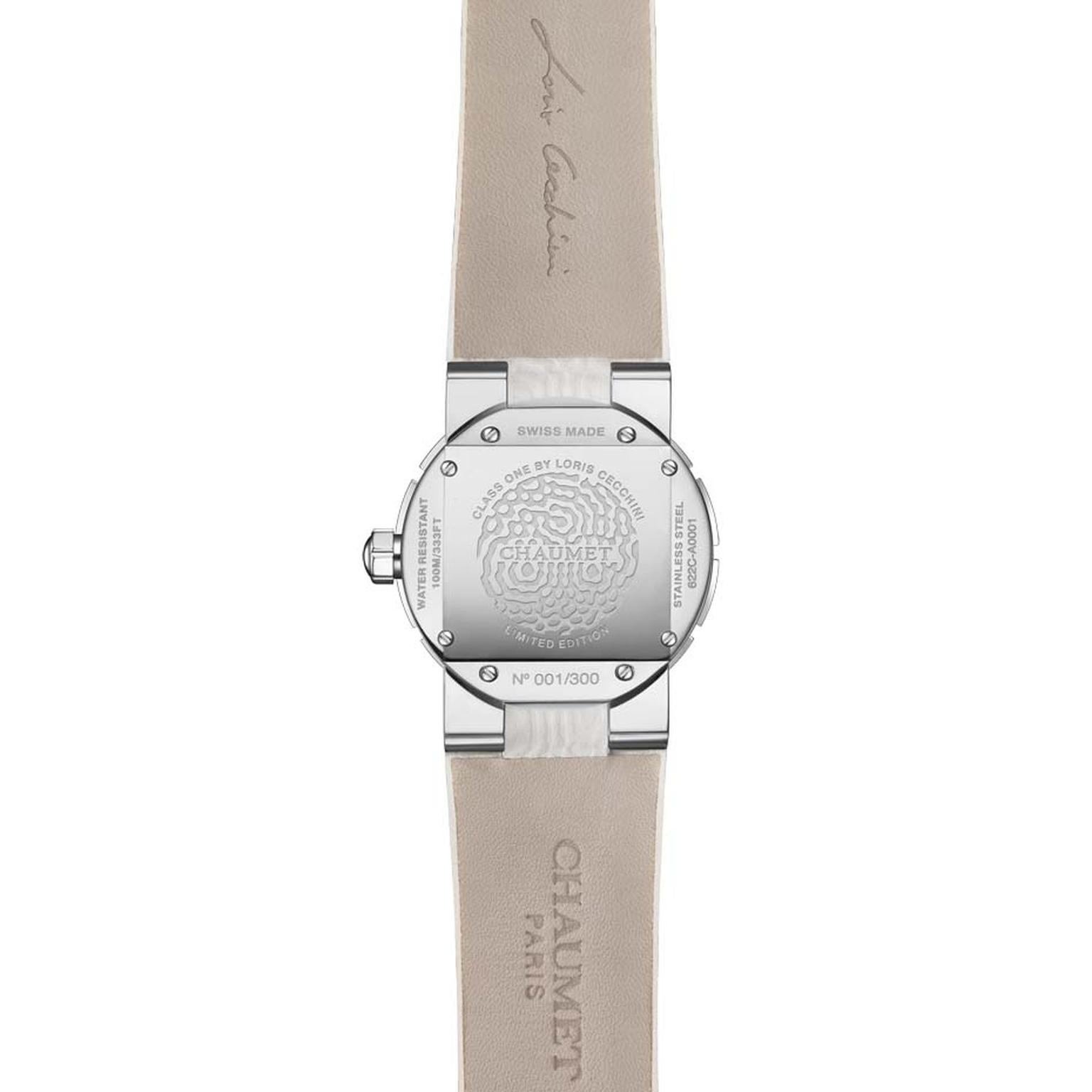The 33mm stainless steel case has been etched with Loris Cecchini's water vibration pattern on the reverse of each of the limited-edition Chaumet Class One ladies' watches.