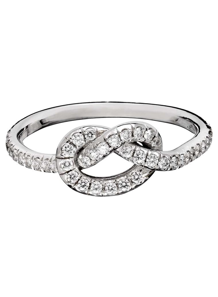 This Is The Large Version Of The Signature Love Knot Ring In White Gold, Set