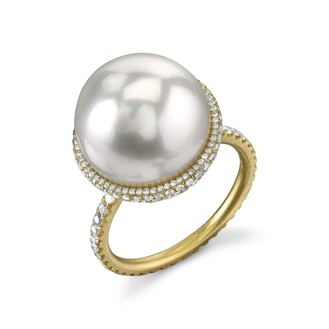 Irene Neuwirth's one-of-a-kind pearl ring in yellow gold is the perfect alternative engagement ring, featuring a large South Sea pearl and diamond pavé.