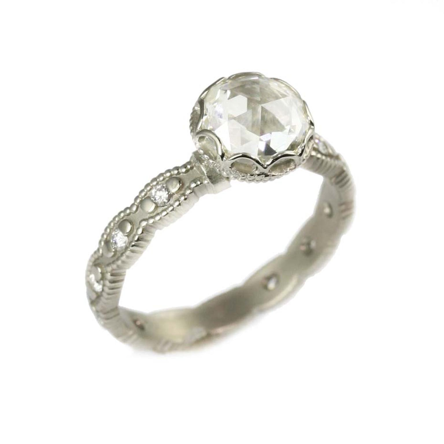 Megan Thorne engagement ring in white gold, set with a rose-cut diamond, with a scalloped bezel.