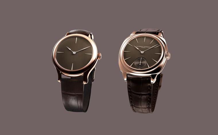 Laurent Ferrier watches are celebrating five years of watchmaking success. Monsieur Ferrier decided to celebrate with a special treat in the form of delectable chocolate dials on four of his exclusive movements. On the left is the 39mm Galet Micro-Rotor a