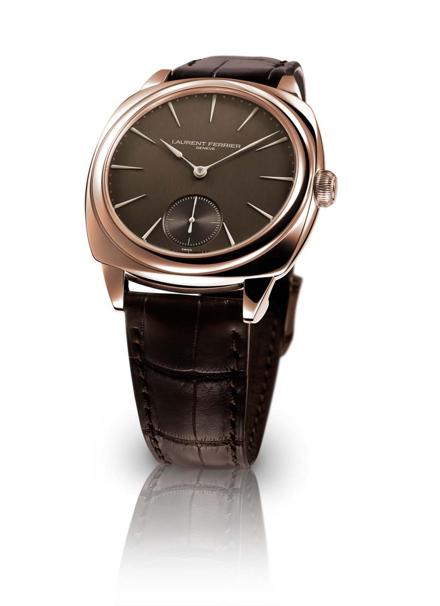 The Laurent Ferrier Galet Square Chocolate 41mm rose gold watch features a satin-brushed, chocolate-coloured dial with hours, minutes and small seconds functions. Inside the case is one of Ferrier's distinctive movements with an off-centred micro-rotor pr