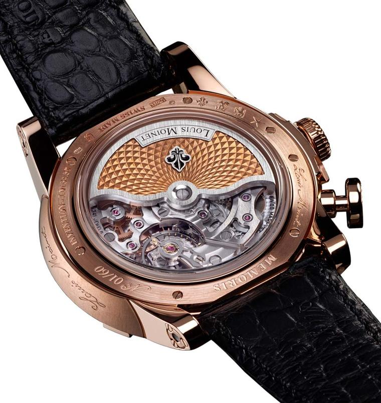 Louis Moinet's Memoris chronograph comes in a 46mm rose or white gold case, is a limited edition of 60 pieces and displays the entire mono-pusher chronograph movement on the dial. On the back of the case, the richly decorated rotor reveals some of the 302