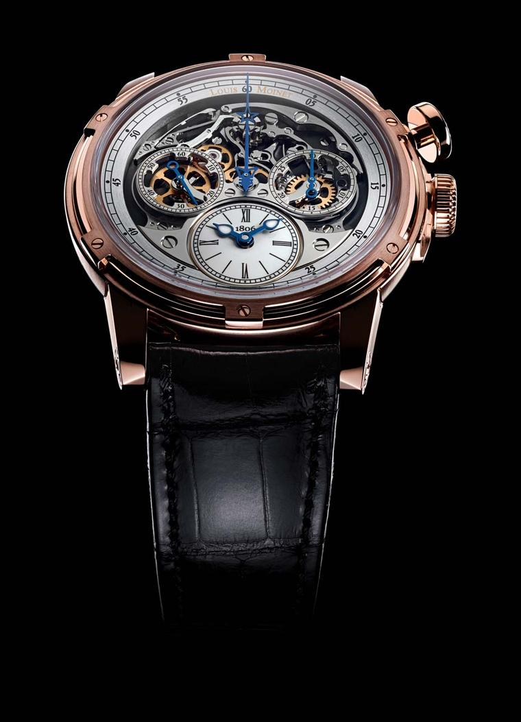 The Louis Moinet Memoris chronograph lets the chronograph function occupy centre stage, an original and indeed world-first approach to the chronograph, which usually takes second place to the time functions.